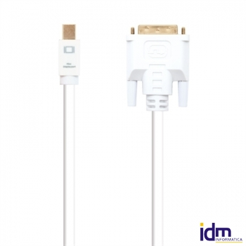 Cable conversor Mini dp a DVI blanco, 3m