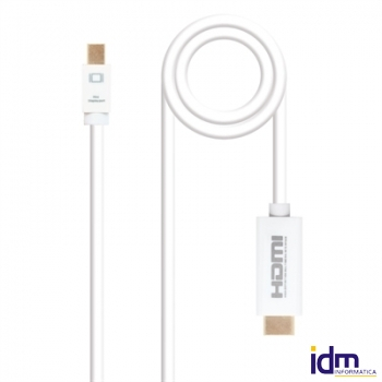 Cable conversor Mini dp a HDMI blanco 5m