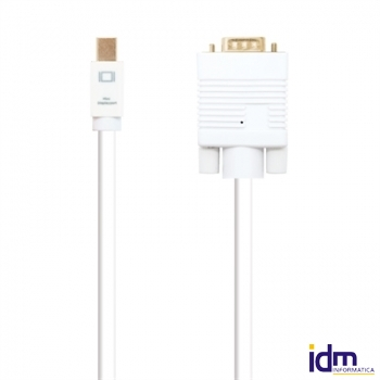 Cable conversor Mini dp a VGA blanco, 2m