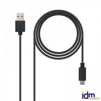 CABLE USB 2.0 3A, TIPO USB-C/M-A/M, NEGRO, 1 M