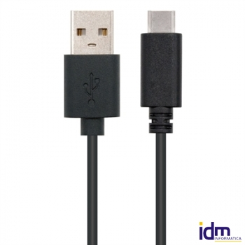 CABLE USB 2.0 3A, TIPO USB-C/M-A/M, NEGRO 2 Metros