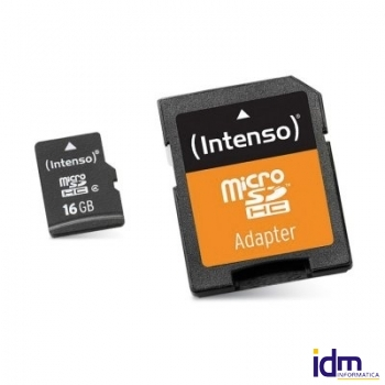 Intenso 3413470 Micro SD clase 10 16GB c/adapt