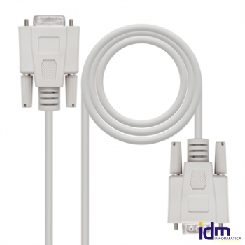 Nanocable Cable Serie RS232, DB9 M-H, Beige, 1.8m