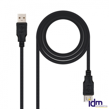 Nanocable Cable USB 2.0, tipo A/M-A/H, Negro, 3m