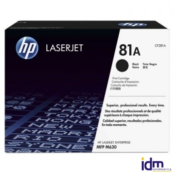 TONER NEGRO HP N�81A - 10500 P�GINAS - COMPATIBLE CON COLOR LASERJET ENTERPRISE M630DN